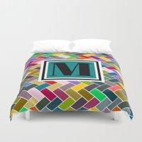 monogram Duvet Covers featuring M Monogram by mailboxdisco