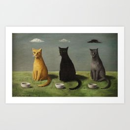 Three Cats with Clouds That Follow Them Everywhere by Gertrude Abercrombie Art Print