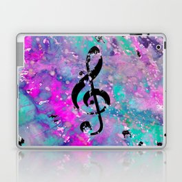 Artistic neon pink teal black watercolor classical music note Laptop & iPad Skin