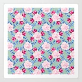 Watercolor Pink Roses, Burgandy Roses, hand-drawn vines on Seafoam green Art Print