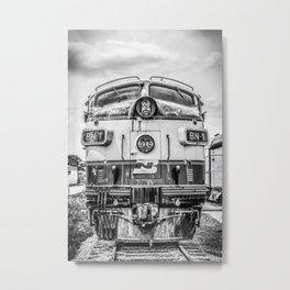 Cab Forward Black and White Vintage BN-1 EMD Train Locomotive Metal Print