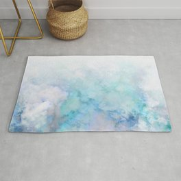 Fresh Blue and Aqua Ombre Frozen Marble Rug