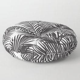 Modern black tropical palm trees pattern Floor Pillow
