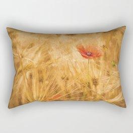Fiery poppy in a golden cornfield- Poppies Flower Flowers #Society6 Rectangular Pillow