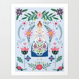 Fairy Tale Folk Art Garden Art Print