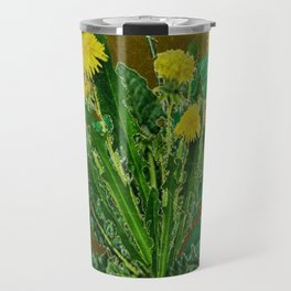 Antique Style Grundy Avocado Color Dandelion Print Art Travel Mug