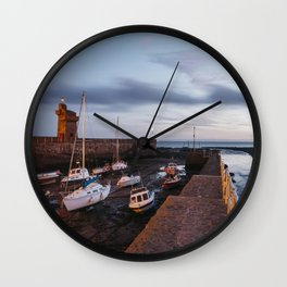 Boats in Lynmouth Harbour at dawn twilight. Devon, UK. Wall Clock