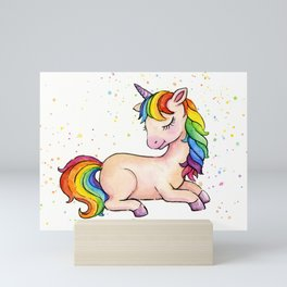 Sleeping Rainbow Unicorn Mini Art Print