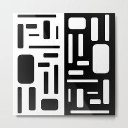 Black and White Rectangles Design Metal Print