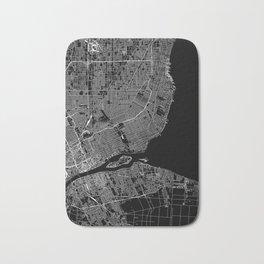Detroit Black Map Bath Mat
