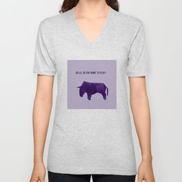 Do You Want to Play? - Origami Purple Bull Unisex V-Neck