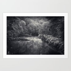 River in Black and Silver Art Print