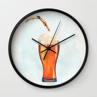 holiday Wall Clocks featuring Holiday by Candy Lin