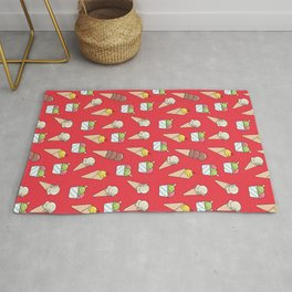 Colorful and Bright Summer Ice Cream Pattern Rug