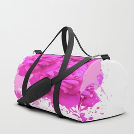 CERISE PINK ROSE PATTERN WATERCOLOR SPLATTER Duffle Bag