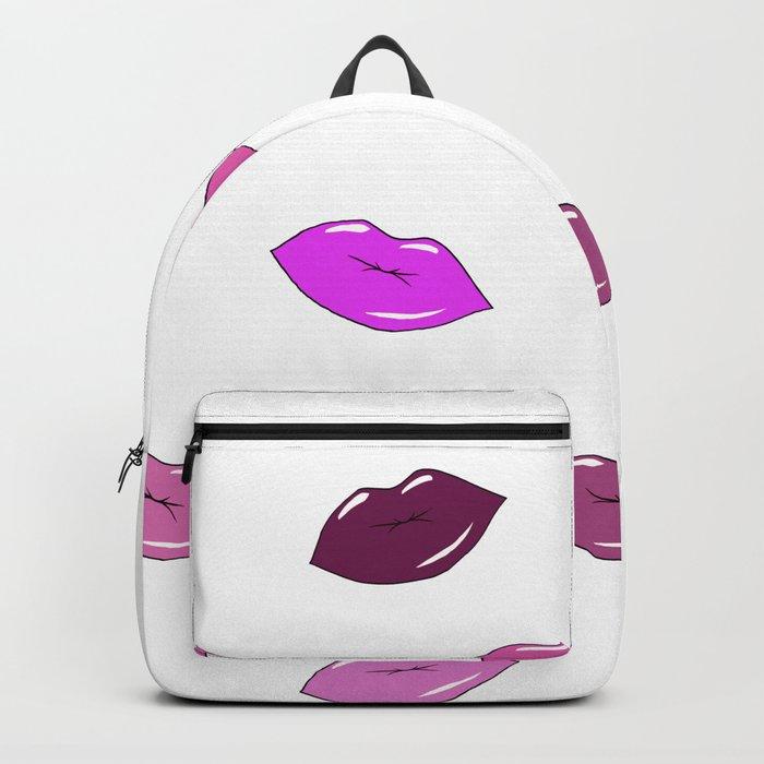 Purple, brown, and pink sensual cartoon lips. Art. Backpack
