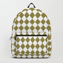 Green Olive Modern Diamond Pattern Backpack