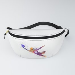 american football player catching ball  silhouette Fanny Pack