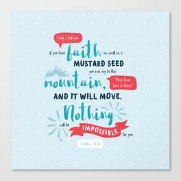 """""""Nothing Will Be Impossible"""" Hand-Lettered Bible Verse Canvas Print"""