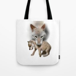 Wolf and Pup Tote Bag