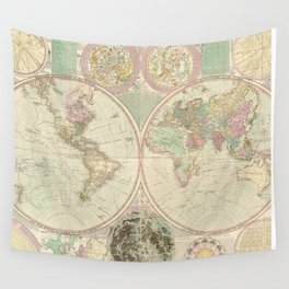 Vintage Map of The World (1780) 2 Wall Tapestry