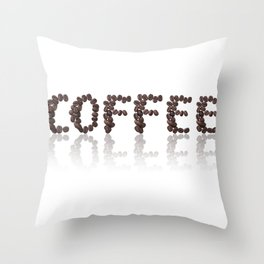word coffee made from coffee beans Throw Pillow