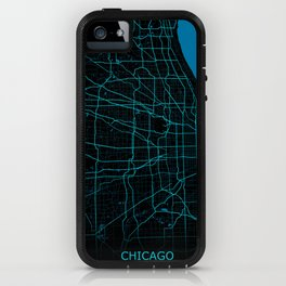 Chicago Map Night Mode iPhone Case