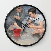 destiel Wall Clocks featuring Oh Sweetheart, I don't do shorts. by Pat-a-tat