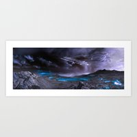 planet Art Prints featuring Extraterrestrial Landscape : Galaxy Planet by 2sweet4words Designs