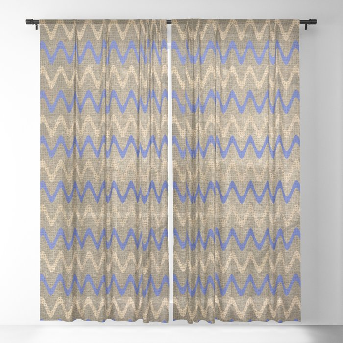 Blue and Tan Zigzag Stripes on Grungy Brown Burlap Graphic Design Sheer Curtain