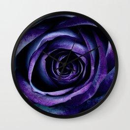 Purple Blue Rose Bloom Wall Clock