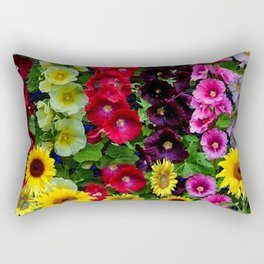 ENGLISH HOLLYHOCKS & SUNFLOWER GARDEN Rectangular Pillow