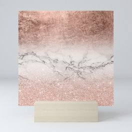 Modern faux rose gold glitter and foil ombre gradient on white marble color block Mini Art Print