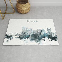 Pittsburgh Monochrome Blue Skyline Rug