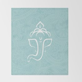 Blue Ganesh - Hindu Elephant Deity Throw Blanket