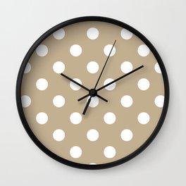 Polka Dots - White on Khaki Brown Wall Clock