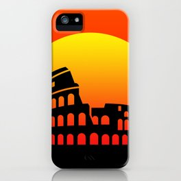 Sunset and colosseum in a red sky iPhone Case