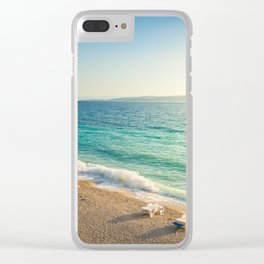 Beach in croatian coast, blue sea. Aerial view Clear iPhone Case