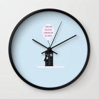 tardis Wall Clocks featuring Tardis by amyskhaleesi
