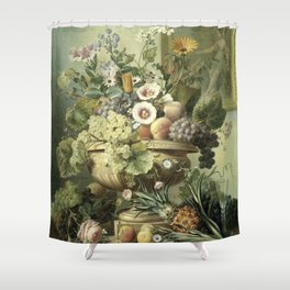 Still Life with Flowers and Fruit, Eelke Jelles Eelkema (1815 - 1830) Shower Curtain