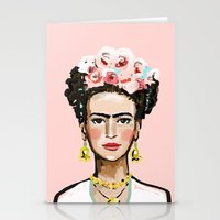 frida kahlo Stationery Cards featuring Frida Kahlo by devinepaintings