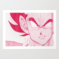 vegeta Art Prints featuring Vegeta Red by DeMoose_Art