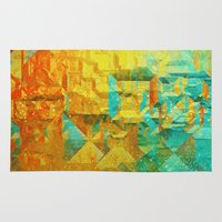 golden Area & Throw Rugs featuring Golden by SensualPatterns