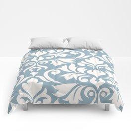Flourish Damask Art I Cream on Blue Comforters