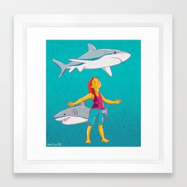 Flying Shark Framed Art Print