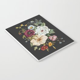 Colorful Wildflower Bouquet on Charcoal Black Notebook