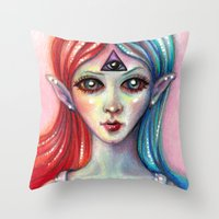 third eye Throw Pillows featuring Third Eye by Mary Nason (MiaSnow)