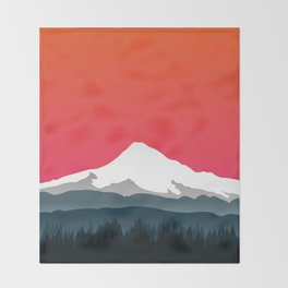 Mount Hood Winter Forest - Sunset Throw Blanket