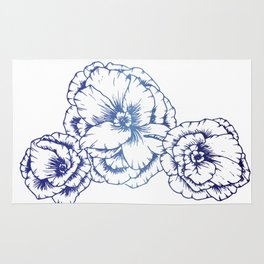 Blue Poppies Rug