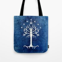lotr Tote Bags featuring The White Tree by Jackie Sullivan